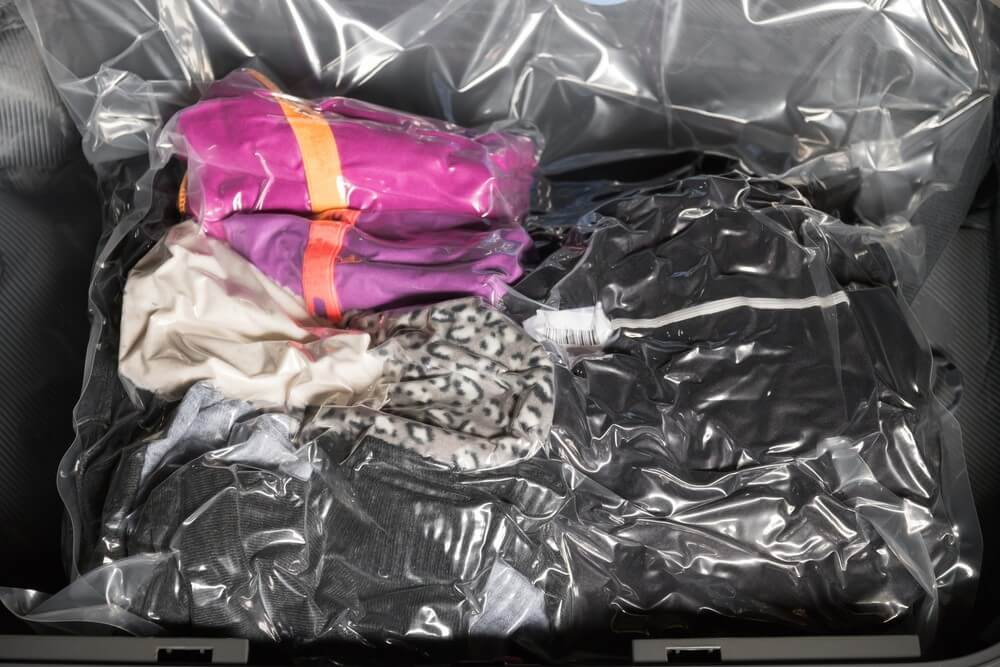 Vacuum Tight Bags with Clothes help save space in an RV