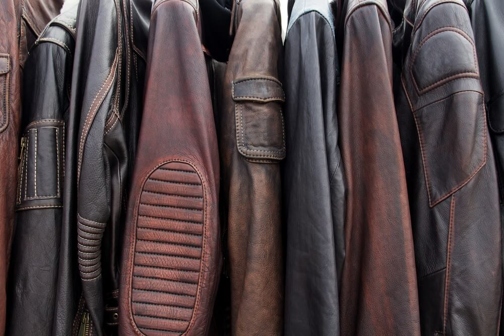 A collection of leather jackets.
